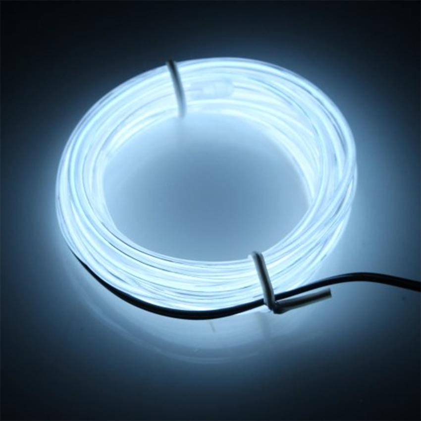 EL Wire 5 เมตร + รางถ่าน AA 2 ก้อน / สีขาว