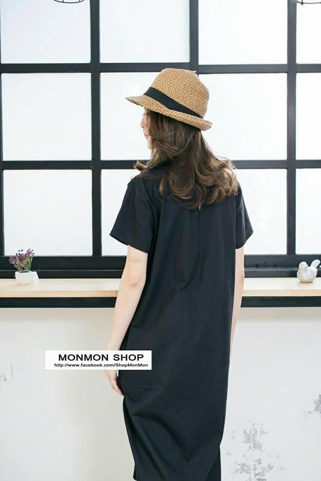 👗V-neck Short-sleeved maxidress_Black