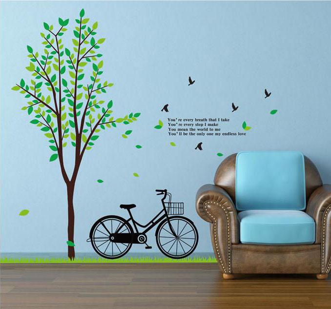 สติ๊กเกอร์ต้นไม้จักรยาน 2แผ่น a235