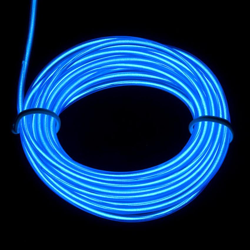 EL Wire 5 เมตร + รางถ่าน AA 2 ก้อน / สีน้ำเงิน