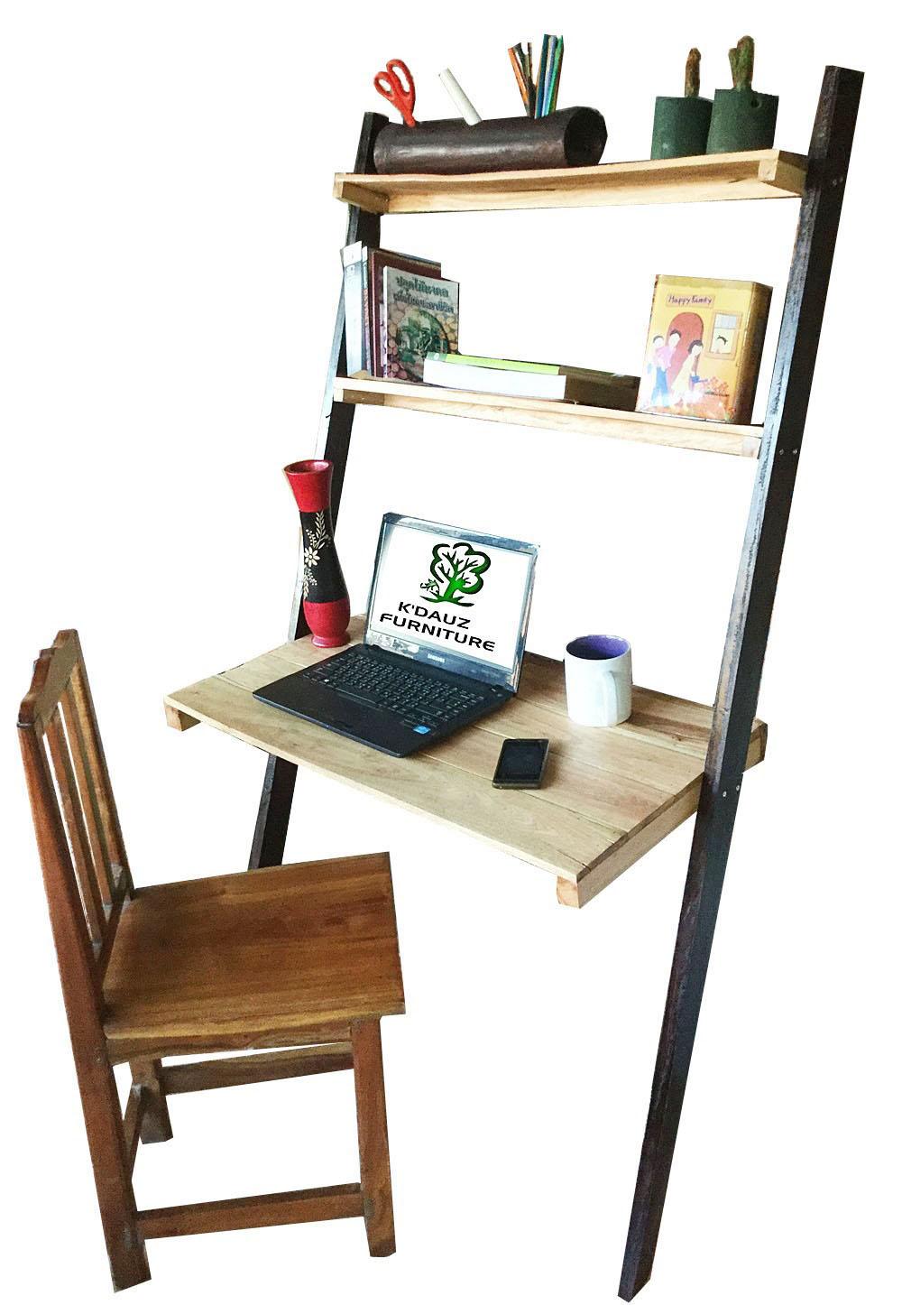 โต๊ะคอมพิวเตอร์ และชั้นวางของ แบบบันไดผิงฝาผนัง งานไม้จริง