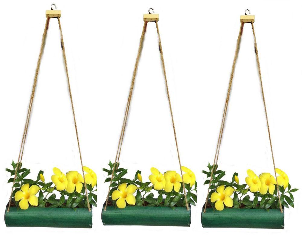 ชุด 3 ชิ้น กระถางไม้ไผ่แขวนสำหรับปลูกต้นไม้ ดอกไม้