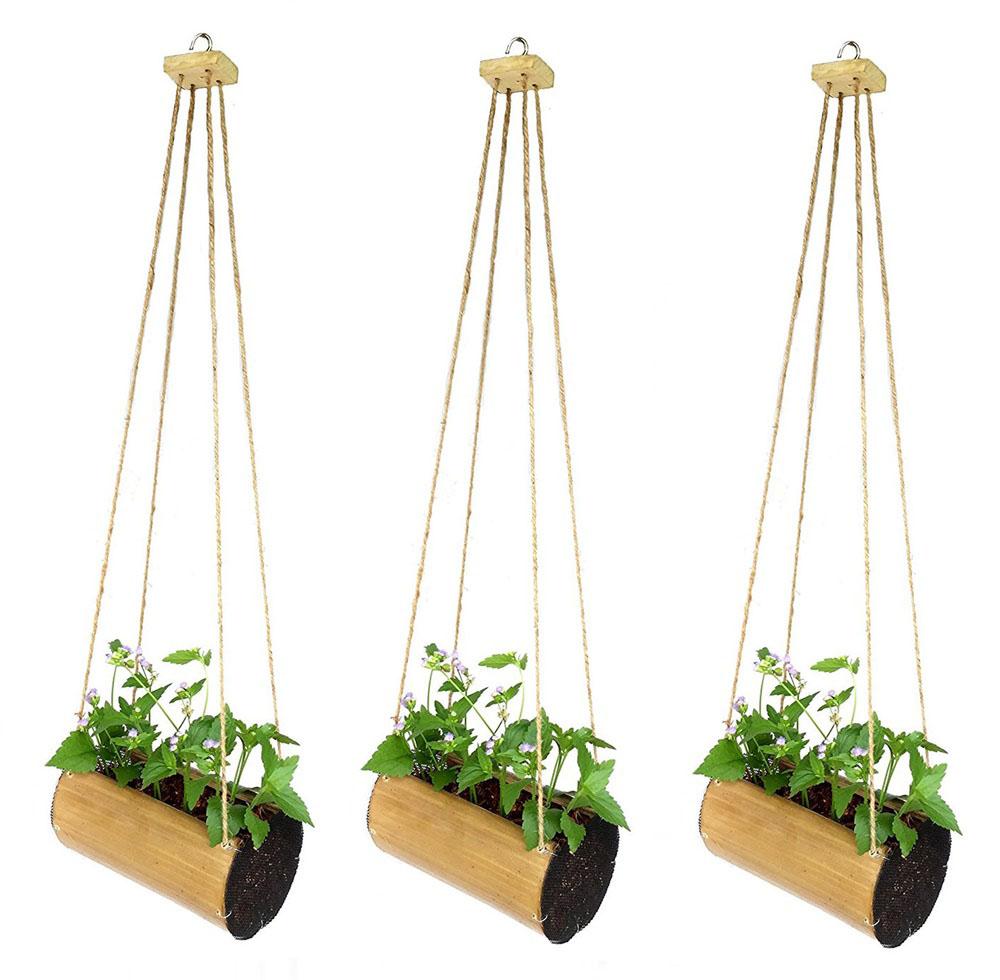 ชุด 3 ชิ้น กระถางไม้ไผ่แขวนต้นไม้ ดอกไม้