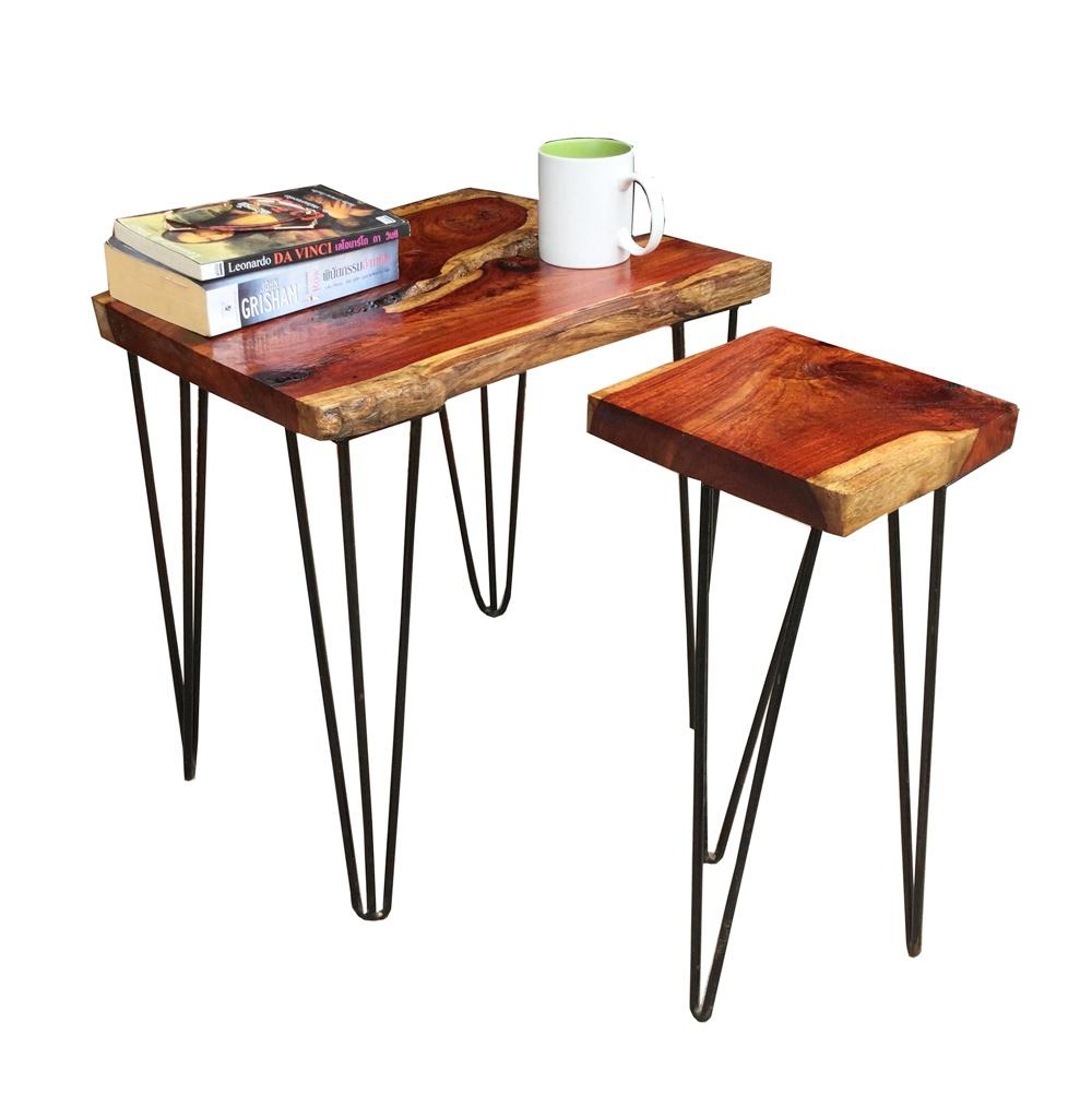 ชุดโต๊ะกลาง โต๊ะกาแฟ ทำจากไม้ประดู่ ขาเหล็กสไตล์ Modern Loft (โต๊ะ + เก้าอี้)