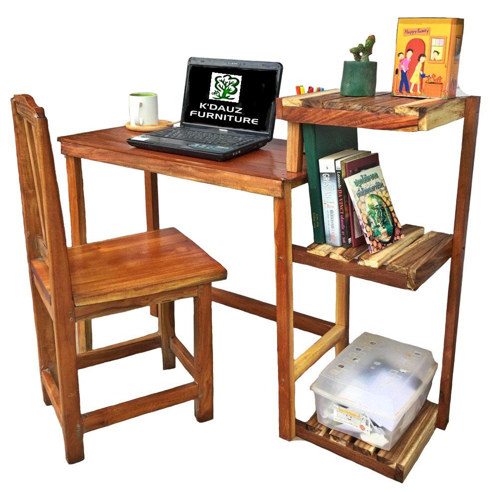 K'DAUZ โต๊ะทำงาน โต๊ะคอมพิวเตอร์ โต๊ะเขียนหนังสือ พร้อมชั้นวาง