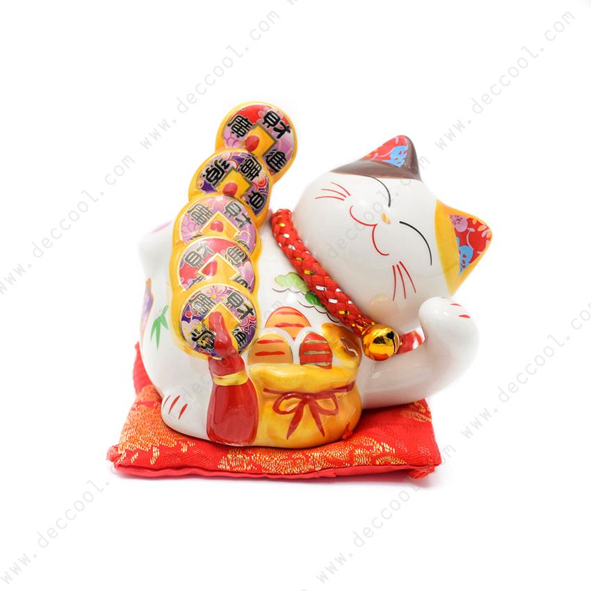 แมวกวัก แมวนำโชค ขนาด 4 นิ้ว นอนถือเหรียญ