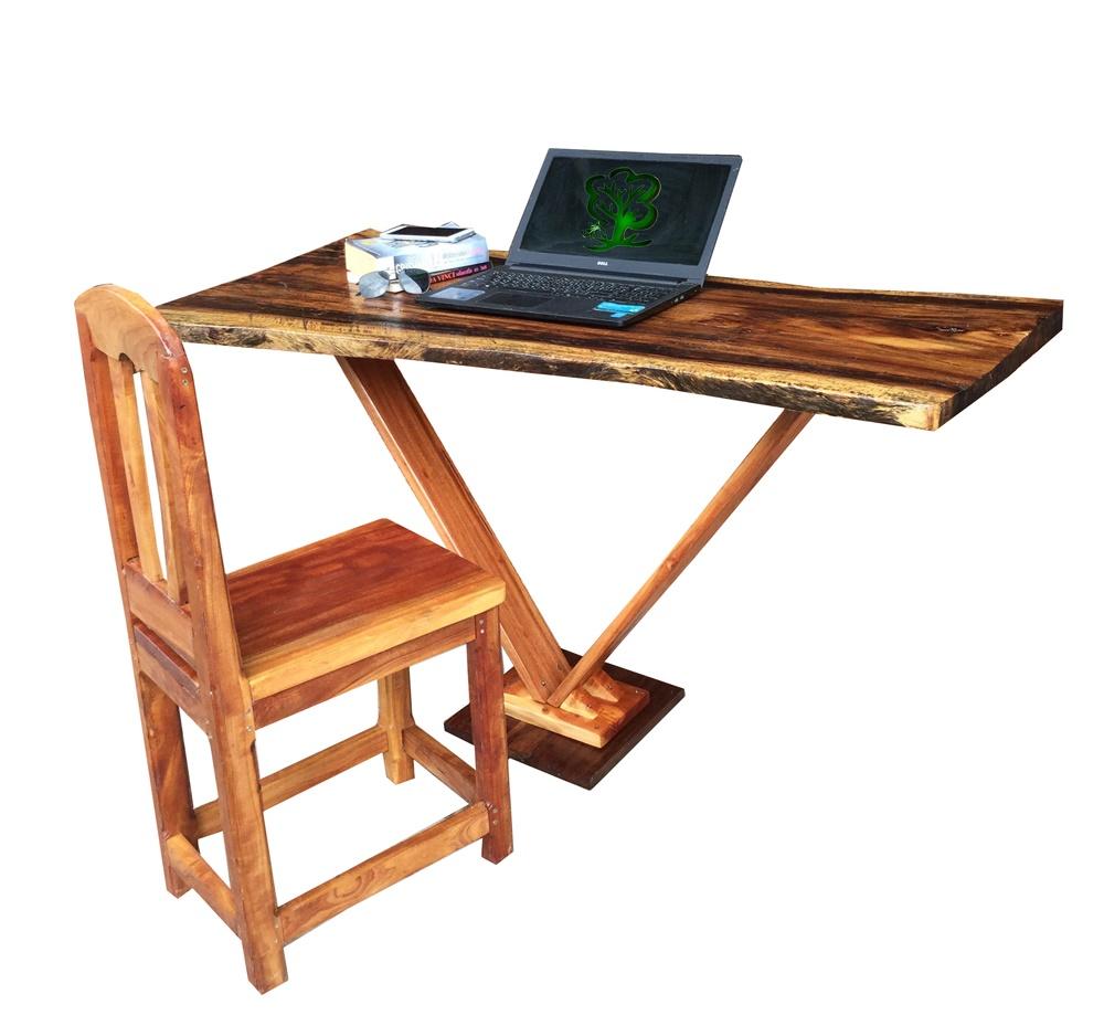 K'DAUZ ชุดโต๊ะคอมพิวเตอร์ โต๊ะเขียนหนังสือ โต๊ะทำงาน + เก้าอี้ไม้ (เน้นความคลาสสิค)