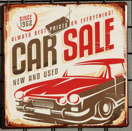 ภาพสังกะสีรูป Car sale ขนาด 30*30cm win17