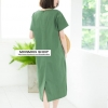 V-neck Short-sleeved Maxi dress_Green