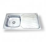 FS-10050-J ซิ้งค์ล้างจาน หนึ่งหลุม สแตนเลส sink มีที่พักจาน หนา 0.6mm. (แบบพับขอบ)