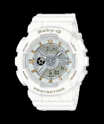 นาฬิกา Casio Baby-G Girl's Generation Gold Attractive Accent series รุ่น BA-110GA-7A1 (สีขาวขีดทอง) ของแท้ รับประกันศูนย์ 1 ปี