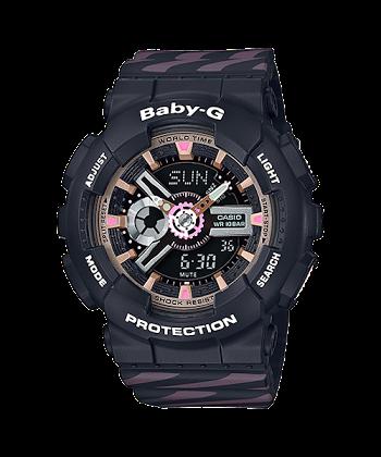 นาฬิกา Casio Baby-G BA-110CH CHANCE series รุ่น BA-110CH-1A (สีดำสายลายริบบิ้น) ของแท้ รับประกันศูนย์ 1 ปี