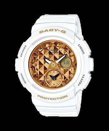 นาฬิกา Casio Baby-G BGA-195M Metal Dial series รุ่น BGA-195M-7A ขาว-ทอง ของแท้ รับประกันศูนย์ 1 ปี