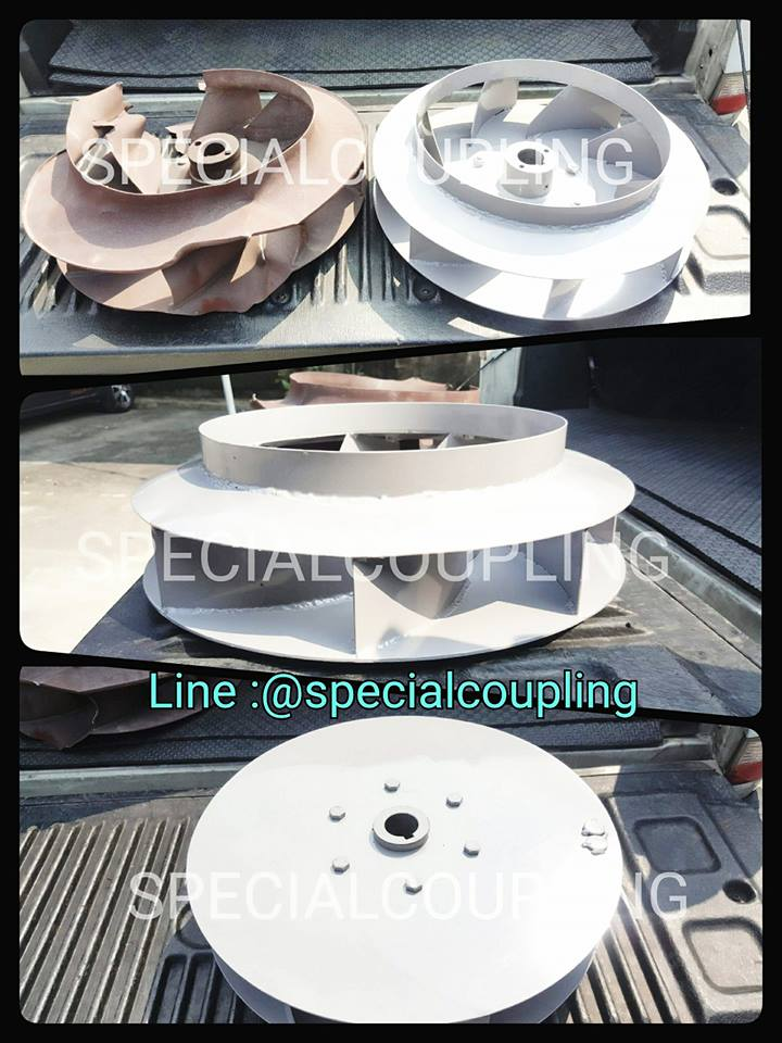 """รับผลิตใบพัดลมโบลว์เวอร์เหล็กod 16"""" L130mm รูเพลา38มิล พร้อมบาลานส์"""
