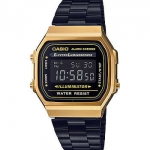 นาฬิกา CASIO ดิจิตอล สีดำทอง รุ่น A168WEGB-1B STANDARD DIGITAL ของแท้ รับประกันศูนย์ 1 ปี